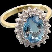 Vintage estate 14k gold 2.25 carat aquamarine .38 carat diamond ring