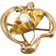 Perfect Valentine Antique Art Nouveau stylized heart 10k pearl water lily pad booch pin