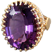 MASSIVE vintage estate 14k gold 24 Carat amethyst statement cocktail ring MAGNIFICENT