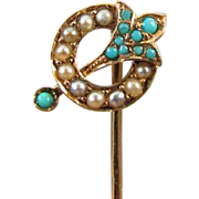 Antique Victorian 14k gold seed pearl Persian blue turquoise stick pin stickpin lapel pin tie