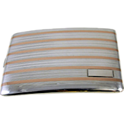 Cigarette case sterling silver 14k gold Art Deco signed ESCO Eagle 3.6 ounce curved M112C&E