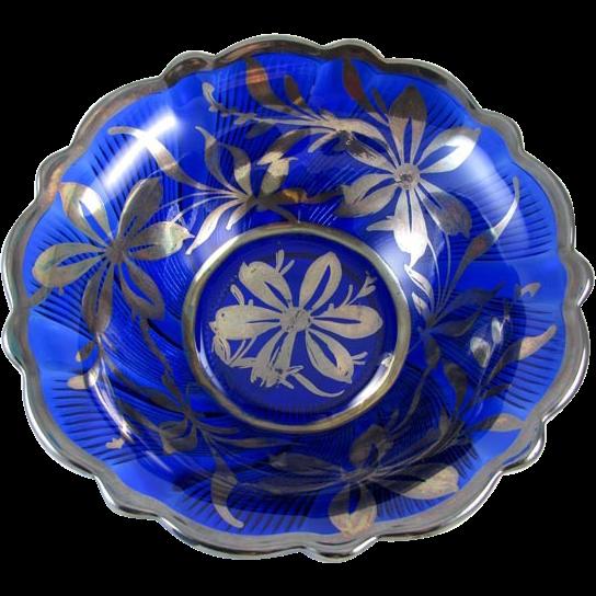 Blue Glass Bowl Antique Antique Cobalt Blue Glass