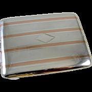 Cigarette case sterling silver 14k gold Art Deco signed Marathon 3.5 ounce M123C&E