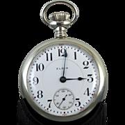 PROFESSIONALLY RESTORED and SERVICED 1909 Elgin BW Raymond 19 jewel nickel case pocket watch