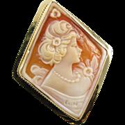 Modern estate 14k gold diamond shaped cameo brooch pin pendant necklace