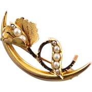 Antique Edwardian 10k gold seed pearl honeymoon crescent brooch pin