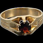 Mans antique Edwardian 10k rose gold garnet ring signed WWW White Wile Warner