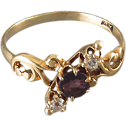 Signed Allsopp Steller Antique Victorian rose gold clear and purple amethyst paste ring