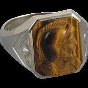 Signed Allsopp Steller vintage early Art Deco 10k white gold tiger eye quartz cameo mans ring