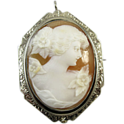 Vintage early Art Deco 14K white gold filigree cameo brooch pin pendant necklace signed Esemco