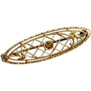 Signed Krementz antique Edwardian 14k gold citrine filigree brooch pin