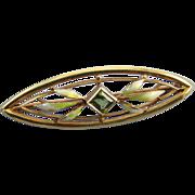 Signed Krementz antique Edwardian 14k green peridot enamel brooch pin