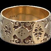 Signed JR Wood and Sons antique Victorian 10k rose gold hand engraved wide cigar wedding band