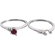 Signed Cosmic Vintage Estate ruby and diamond 14k white gold engagement ring wedding band brid