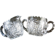 SOLD Stunning cut glass crystal American Brilliant Period antique sugar bowl and spout pour pi