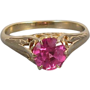Gorgeous antique Edwardian 10k gold synthetic pink spinel filigree solitaire ring