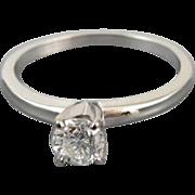 Signed Jabel vintage 18k white gold .40 carat  diamond engagement wedding bridal solitaire rin