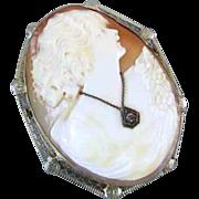 Vintage early Art Deco 14k white gold filigree diamond habille cameo brooch pin pendant neckla