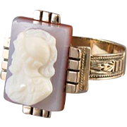 Antique Mid Victorian mans hardstone sardonyx cameo 10k rose gold hand crafted ring