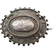 Antique mid Victorian hand crafted silver hair locket pin brooch