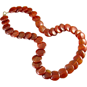 Vintage Art Deco genuine carnelian flat disc bead necklace 14k clasp