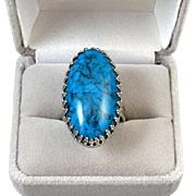 Large vintage silver tone faux blue turquoise fashion costume adjustable size statement ring S