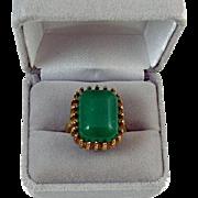 Signed McGrath-Hamin gold tone faux green jade emerald chrysoprase statement costume fashion r