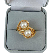 ESPO Esposito 18k HGE heavy gold electroplate pearl ladies bypass style size 6 ring NOS