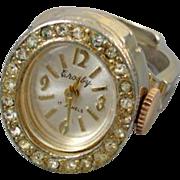 Vintage Crosby ladies rhinestone 17 jewel watch ring adjustable size