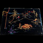 Vintage Japan Asian black lacquer post card postcard photo picture album book scrapbook scrap