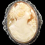 Antique Victorian sterling silver filigree cameo brooch pin pendant