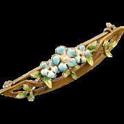 Signed Krementz antique Edwardian Art Nouveau 14k gold enamel pearl brooch pin