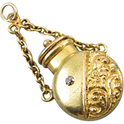 Antique Victorian 18k gold mine cut diamond scent bottle perfumer vinaigrette chatelaine charm