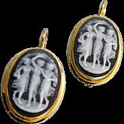 Vintage 18k gold lever back pierced black and white hardstone sardonyx The Three Graces cameo