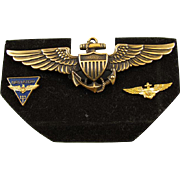 Vintage Vietnam era gold filled US Navy Pilot full size military wings navigator GROUPING pin