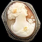 Vintage Art Deco 14k white gold filigree cameo brooch pin pendant necklace signed Esemco Shima
