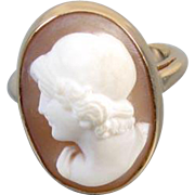 Antique Edwardian 14k gold shell cameo high profile ring