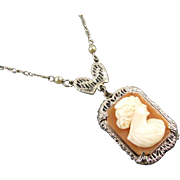 Vintage Art Deco 14k white gold shell cameo and pearl lavalier pendant necklace