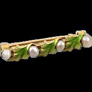 Signed Krementz antique Art Nouveau Edwardian 14k gold fresh water pearl enamel lingerie bar p