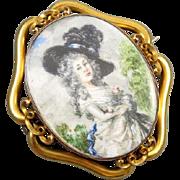 MASSIVE exceptional antique Georgian 14k gold hand painted portrait brooch pin pendant ...