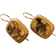Antique Victorian 14k gold brown agate hardstone in matrix pierced locking kidney wire earring