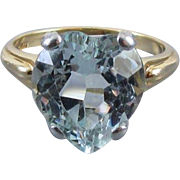 Perfect Valentine Vintage heart shaped 5ct aquamarine 14k gold and palladium solitaire ring si