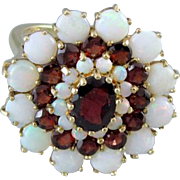 Vintage estate 14k gold opal garnet cocktail statement ring signed DMJ England