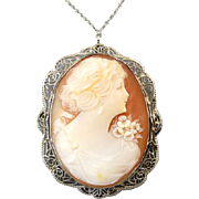 Antique Art Deco 14k white gold filigree cameo pendant necklace