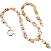 Antique mid-Victorian Japanesque tri color massive book chain necklace