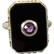Antique Art Deco 18K two tone yellow and white gold black onyx purple amethyst ring signed M.B
