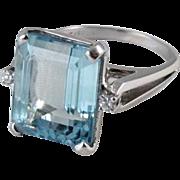 Vintage Retro Moderne 10.87 carat aquamarine and diamond 14k white gold cocktail statement rin