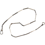 Antique Art Deco signed Simmons white gold filled pocket watch chain bracelet length