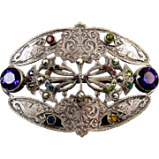 SOLD Antique Victorian silver on brass large sash pin brooch marcasite multicolored glass past
