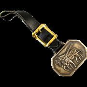 Vintage brass draft horses black leather strap pocket watch fob